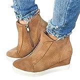Puimentiua Zapatillas de Cuña Deportivas para Mujer Zapatos Oculto Tacón Plataforma 8cm Sneakers