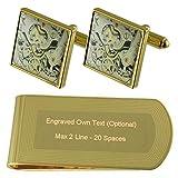 Imprimir Ver Movimiento Reloj tono dorado gemelos Money Clip grabado Set de regalo