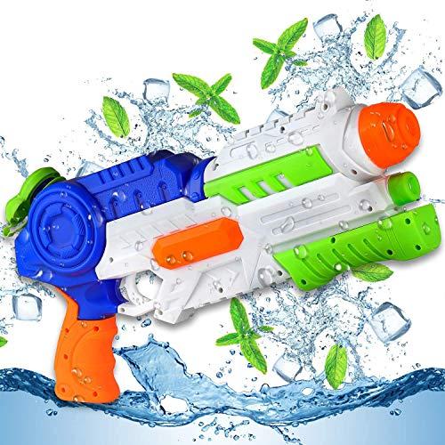EKKONG Wasserpistole Spielzeug für Kinder und Erwachsene, 1200ML Wasserpistolen Groß mit 11 Meter Reichweite für Sommerpartys im Freien, Pool, Garten und Strand, Party, Wasser Kampf Spiel (Blaugrün)