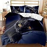 HAJYCFR 3D Bettdeckenbezug für Schlafzimmer 200x200cm Süßes Tier Pegasus Hund Bettbezug 3 Stück Bettwäsche 3D Digitaldruck Bettdecke extra große Bettbezug Schlafzimmer Set Queen Microfaser Bettbezug