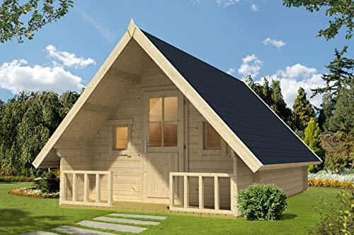 Alpholz Gartenhaus Campinghouse 44 aus Massiv-Holz   Gerätehaus mit 44 mm Wandstärke   Garten Holzhaus inklusive Montagematerial   Geräteschuppen Größe: 328,8 x 508,8 cm   Satteldach