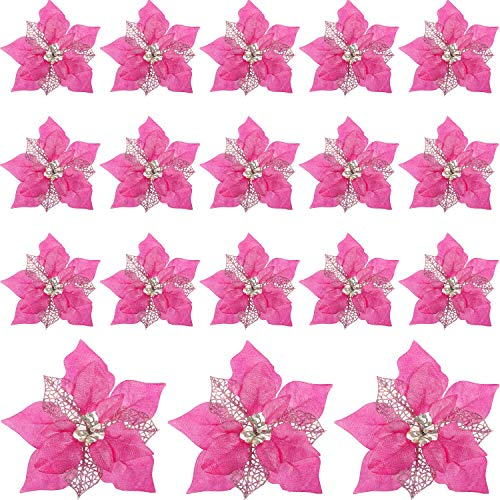 WILLBOND 20 Pieces Artificial Glitter Poinsettia Flowers Christmas Tree Ornaments for Christmas Flower Ornaments Tree Decorations (Pink)