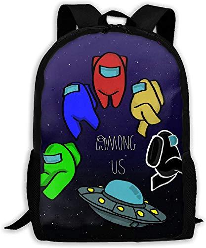 Among Us School Bag - Mochila de hombro ajustable, gran capacidad, protección para los hombros, para adultos, Among Us1 (Negro) - DSG-254054