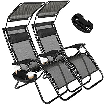 Artist Hand 2 Pack of Zero Gravity Outdoor Folding Lounge Chairs w/Sunshade Canopy+ Snack Tray,Adjustable Lawn Patio Reclining Chairs for Travel Yard Beach Pool