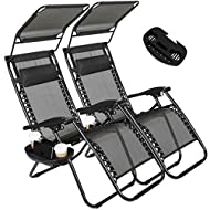 2 Pack of Zero Gravity Outdoor Folding Lounge Chairs w/Sunshade Canopy+ Snack Tray,Adjustable Lawn Patio Reclining Chairs for Travel Yard Beach Pool (Black)