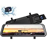 TOGUARD Upgraded Dual 1080P 10' Mirror Dash Cam with Waterproof Backup Camera, Dash Cam Front and Rear IPS...