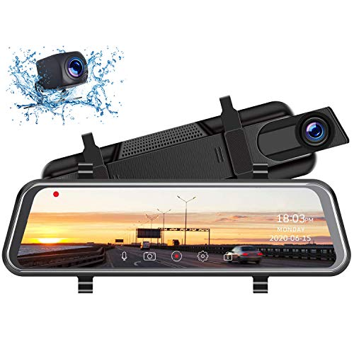 "TOGUARD 2.5K Mirror Dash Cam with Waterproof Backup Camera, 10"" Car Camera Front and Rear Touch Screen Rear View Mirror Camera Parking Assistance"