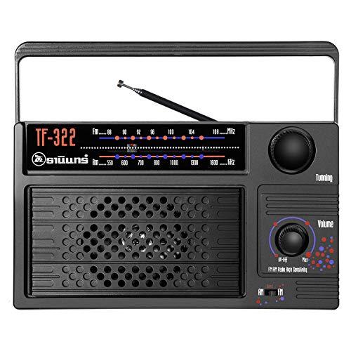DC 5V Power, Radio Am/FM portátil con Gran recepción, Radios con batería Recargable de 1800mAh con Conector para Auriculares, Sonido Fuerte, Negro