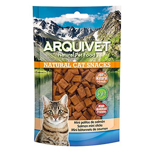 ARQUIVET Mini palitos de salmón Pack 24 Unidades x 50 gr - Natural Cat Snacks, Snacks para Gatos 100% Naturales - Chuches, premios, golosinas y recompensas para felinos