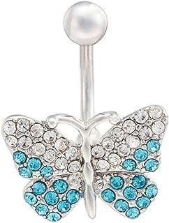 Kakiyi - Piercing para el Ombligo con diseño de Mariposa, de Colores, con circonitas, para el Ombligo