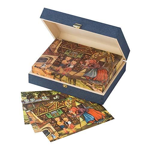 MAROLIN Würfelpuzzle aus Holz mit Märchen - Motiven der Gebrüder Grimm