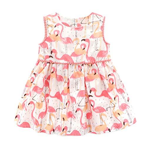 Babyjurk, meisjes, mouwloos, flamingo, zomer, party, prinses, jurk voor kinderen, bedrukt 9-12 Mois Roze