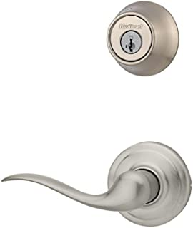 Kwikset 967TNL LH 15 SMT Tustin Lever Left Hand Double Cylinder Interior Pack with SM, Satin Nickel