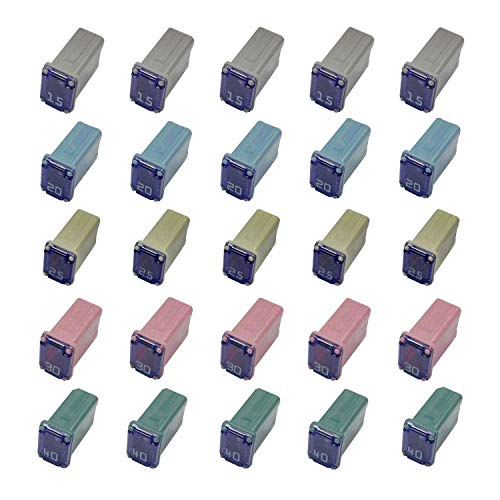 25 Pack Automotive MCASE Cartridge Fuse Kit for Cars, Trucks, and SUVs