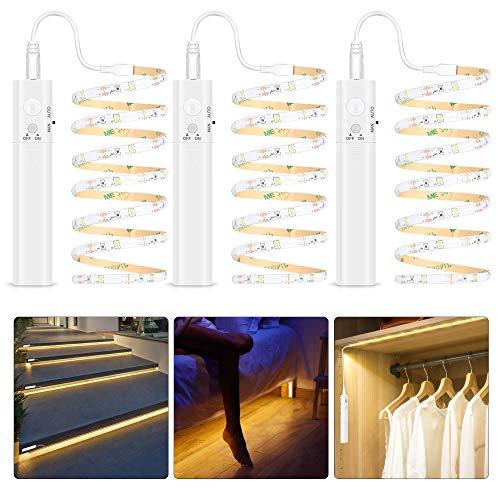 Striscia LED da Guardaroba con Sensore di Movimento, Luce LED con Striscia 3M Lampada Armadio con telecomando IR a batteria, Striscia LED Adesiva per Armadi, Armadietti,Corridoi, Camere da Letto
