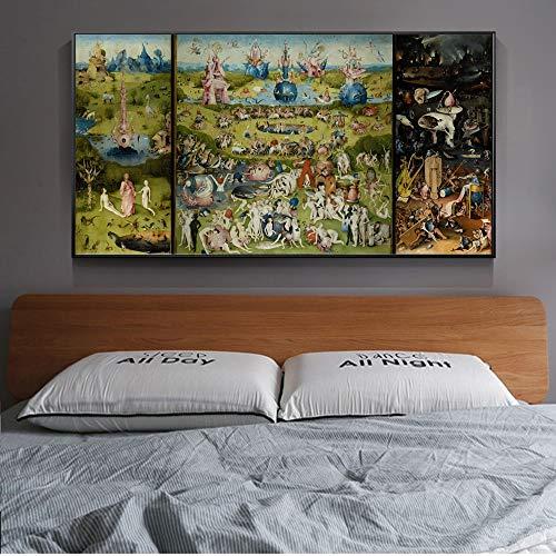 N / A MUTU Der Garten der irdischen Freuden Leinwandbilder Gemälde Reproduktionen Bosch Hieronymus Leinwand Kunstdrucke Für Wohnzimmer 30x40 cm Kein Rahmen