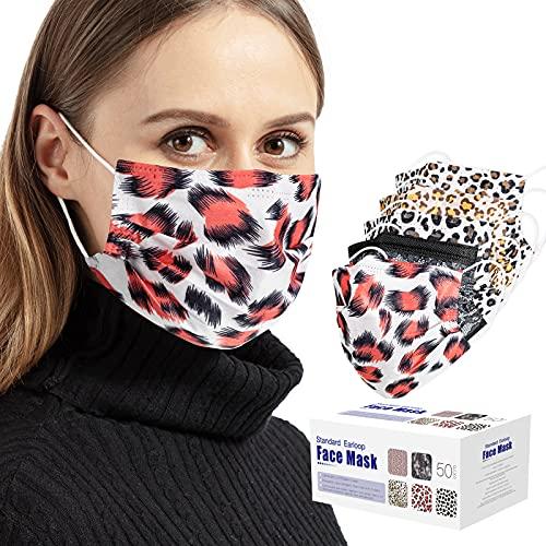50 PCS Leopard Disposable Face 3 Breath (Leopard, 50 Pack)