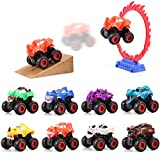 JOYIN 8 Pack Push-and-Go Monster Friction Powered Truck Toy Big Wheels with Stunt Park Car Playset
