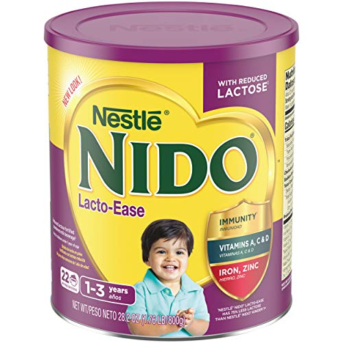 Nestle NIDO Lacto-Ease Whole Milk Powder 1.76 lb. Canister | Reduced Lactose Powdered Milk Mix