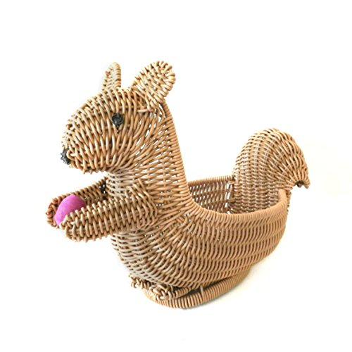 CVHOMEDECO. Squirrel Shape Imitation Rattan Bread Basket Fruit Display Basket Dessert Basket Resin Wicker Household Living Room Snacks Candy Plate. Light Brown. 12 Inch