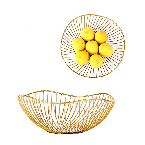 IEEK 2 Pack Metal Wire Fruit Bowls for the Counters Anti Rust Vegetables and Fruit Serving Bowls Decorative Countertop Centerpiece Gold Fruit Storage Basket for Living Room,Kitchen,Pantry,Office
