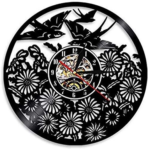 Reloj de Pared de Vinilo, pájaros, Animales, Reloj de Pared con Registro de Vinilo, Animales, decoración Vintage para el hogar, murales, Regalos Hechos a Mano
