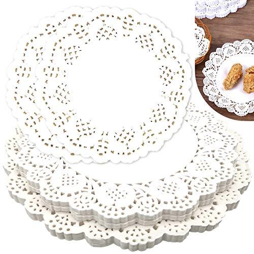 JJQHYC Spitzendeckchen aus Papier Weiße Elegant Rund Spitze Papier Platzsets Dekoration 300 Stück für Hochzeiten, Party, Kuchen, Desserts, 3 Größen