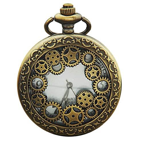Ogquaton Vintage Engranaje hueco antiguo colgante números arábigos analógico reloj de bolsillo reloj de cuarzo práctico y práctico
