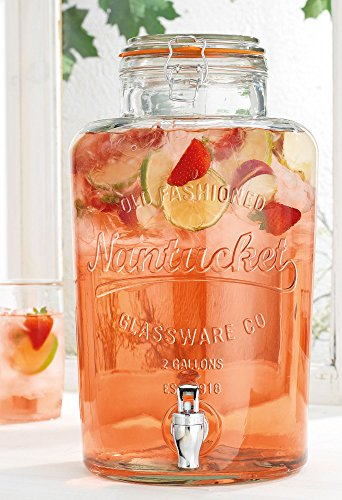 Quality Ice Cold Beverage Drink Nantucket Dispenser with Locking Clamp Lid 2.15 Gallon Small Towel Included (Color Of Towel May Very)...
