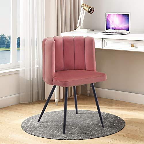 TUKAILAI 1 silla de comedor de terciopelo único, acolchado grueso con patas de metal negro para comedor, silla para dormitorio, sillón de ocio moderno para sala de estar, rosa
