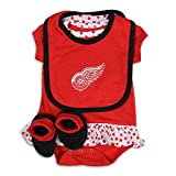 Detroit Red Wings Newborn/Infant Girl's 2016 Bodysuit, Bib, Bootie Set, Red, Infant 12 Months