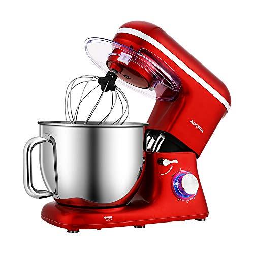 Aucma Knetmaschine Küchenmaschine, 7L Tilt-Head Geräusche Knetmaschine, 6 Geschwindigkeit mit Rührbesen, Knethaken, Schlagbesen, Spritzschutz und Edelstahlschüssel Teigmaschin 1400W,Rot