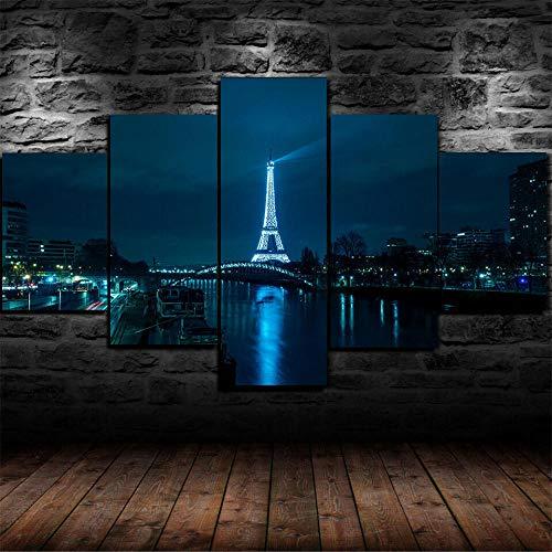 IKDBMUE Cuadro sobre Lienzo - 5 Piezas - París de Noche Torre Eiffel - Ancho: 150cm, Altura: 80cm - Listo para Colgar - en un Marco