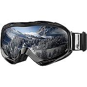 OutdoorMaster Occhiali da sci OTG - Occhiali da vista Occhiali da sci/snowboard per uomo, donna e ragazzo - Protezione UV al 100%(Black Frame + VLT 10% Lens grigio con REVO Silver)