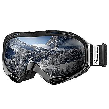 OutdoorMaster OTG Ski Goggles - Over Glasses Ski/Snowboard Goggles for Men Women & Youth - 100% UV Protection  Black Frame + VLT 10% Grey Lens with REVO Silver