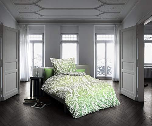 fleuresse Mako-Satin Bettwäsche 155x220 Paisley grün Weiss 113402-5