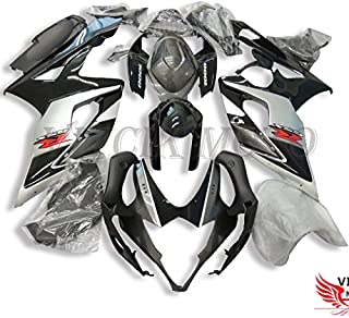 VITCIK (Fairing Kits Fit for Suzuki GSXR1000 K5 2005 2006 GSXR 1000 GSX R1000 K5 05 06 Plastic ABS Injection Mold Complete Motorcycle Body Aftermarket Bodywork Frame (Black & Silver) A083