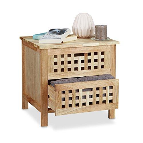 Relaxdays Table de chevet table de nuit en bois de noyer 2 tiroirs console table d'appoint meuble de rangement commode, nature 45 x 47 x 39,5 cm