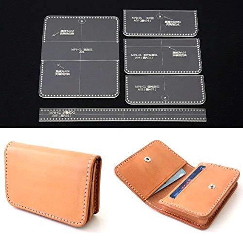Panina - Juego de 5 plantillas de acrílico transparente para tarjetas, carteras, manualidades en cuero