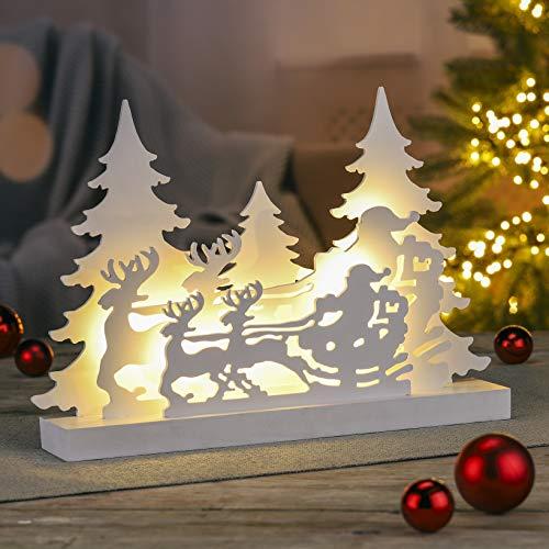 GEK Weihnachts Silhouette 42x29cm, Rentiere mit Schlitten und Winterwald, MDF Weiss mit 14 LED, warmweiss
