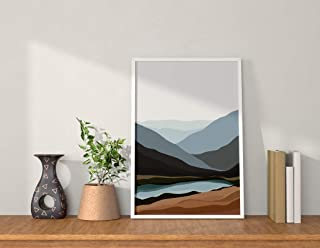 Framed Abstract Art - QUOTE - UNQUOTE ART - Mountain - River - Boho Painting for Living Room - Home Décor - Minimalist Wal...