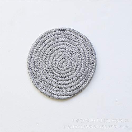 Manteles individuales,Mantel individual de algodón tejido a mano de estilo japonés, almohadilla gruesa de aislamiento térmico de algodón y lino, posavasos, cuenco y porta ollas, gris claro, 4 piezas