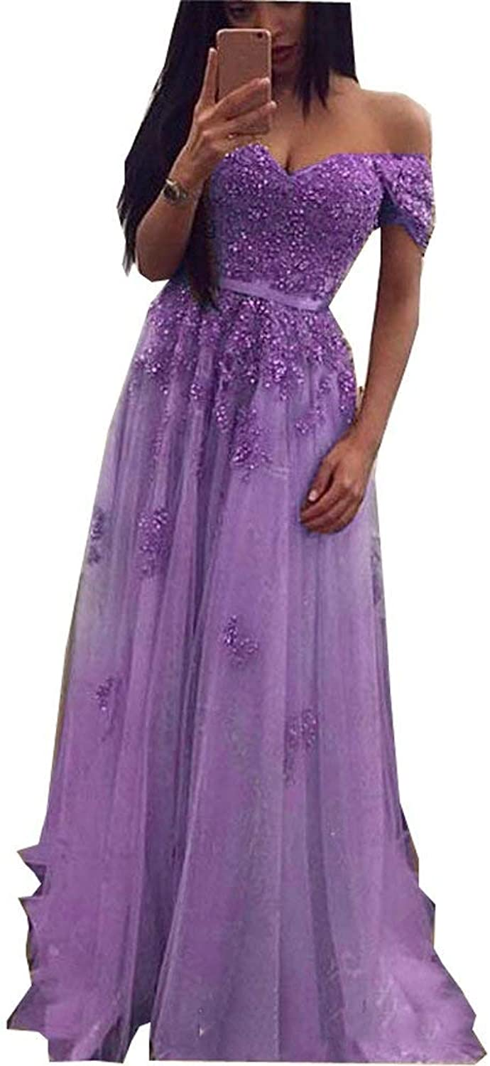 LUBridal Women's Sexy Lace Applique Sweetheart Evening Dresses Long Off Shoulder Evening Formal Gown