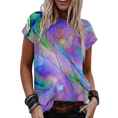 LQIQI Damen T-Shirt Kurzarm Farbdruck Farbstoff Binden Rundhals Oberteil Basic Tops Klassik Lose Stretch Casual T-Shirt,Lila,2XL