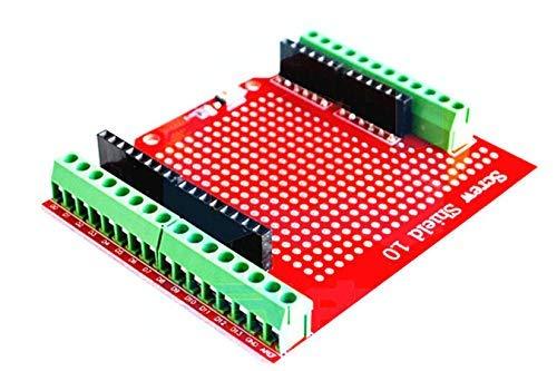 ICQUANZX Proto Screw Shield zusammengebauter Anschlusspunkt Prototyp Erweiterungsplatine Öffnungsquelle Reset-Taste PCB Bare Board für Arduino