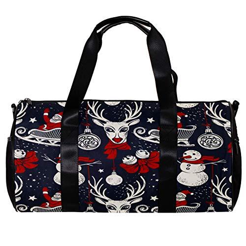 Runde Sporttasche mit abnehmbarem Schultergurt, Hirsch in rotem Schal, Weihnachtsmann-Schlitten und Schneemann, Trainings-Handtasche für Damen und Herren