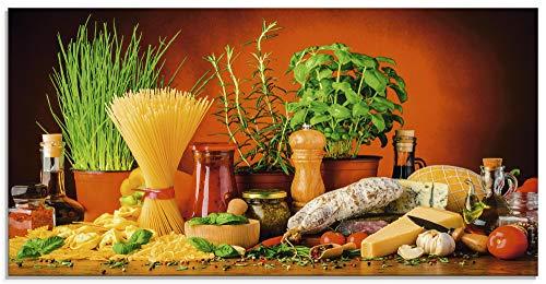 Artland Glasbilder Wandbild Glas Bild einteilig 100x50 cm Querformat Toskana Italien Dolce Vita Pasta Gemüse Kräuter Gewürze Mediterran S7SM