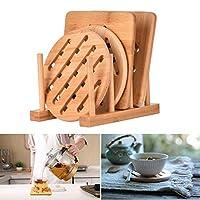 cozywind isolamento pad 4 pezzi in legno di bambù resistente al calore addensare tappetini da tavolo set sottobicchieri sottobicchieri con scolapiatti per pentole e padelle da cucina (15cm)