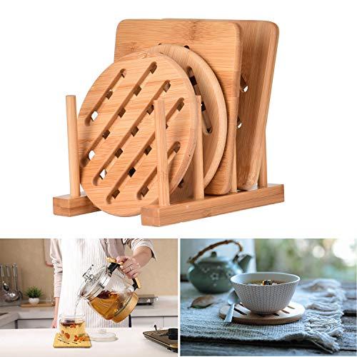 Cozywind Topfuntersetzer Untersetzer aus Bambus-Holz 4er Topf Untersetzer Hitzebeständig Pfannenuntersetzer-Set mit Abtropfgestell für Küche Schüssel Töpfe und Pfannen (15cm)