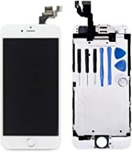 Turtlescreen Premium Quality Replacement Screen Compatible with iPhone 6 Plus, LCD Display & Touch Screen Digitizer Full Assembly (Front camera, Ear speaker & Proximity Sensor) Repair Kit - White